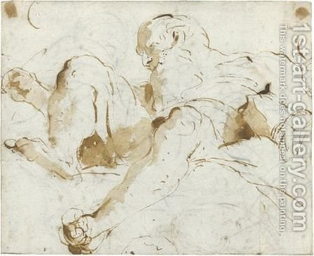 A Bearded Old Man Seated In The Clouds, Seen From Below by Giovanni Battista Tiepolo - Reproduction Oil Painting