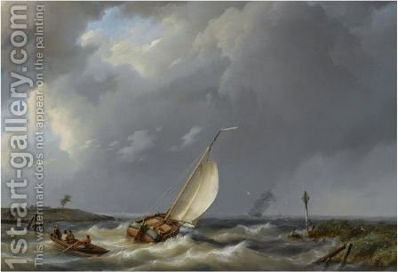 A Fishing Vessel Heading Into Open Waters, A Two-Mast In The Distance by Hermanus Koekkoek - Reproduction Oil Painting