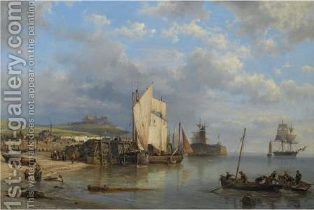 A Harbour Scene At Low Tide by Hermanus Koekkoek - Reproduction Oil Painting