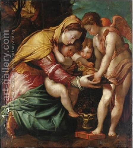 Madonna Del Pappagallo by (after) Francesco De' Rossi (see Salviati, Cecchino Del) - Reproduction Oil Painting