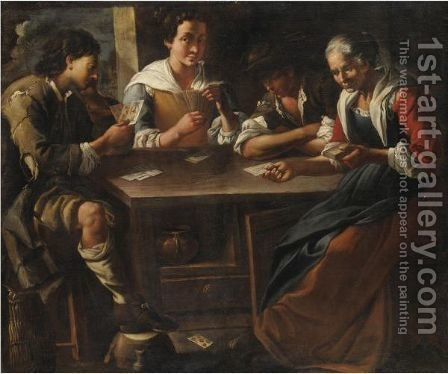 Scena Con Giocatori Di Carte by Giuseppe Romani - Reproduction Oil Painting