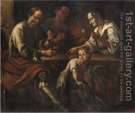 Scena Con Giocatori E Un Bambino by Giuseppe Romani - Reproduction Oil Painting
