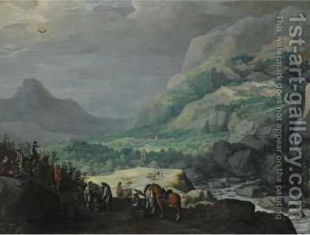 An Extensive Mountainous Landscape With Elegant Figures Picking Vines In The Foreground by (after) Joos De Momper - Reproduction Oil Painting