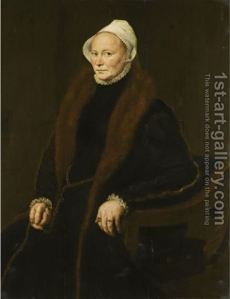Portrait Of A Lady, Said To Be Anne, Fifth Daughter Of Sir John Spencer Of Althorp (1533-1599) by (after) Anthonis Mor Van Dashorst - Reproduction Oil Painting