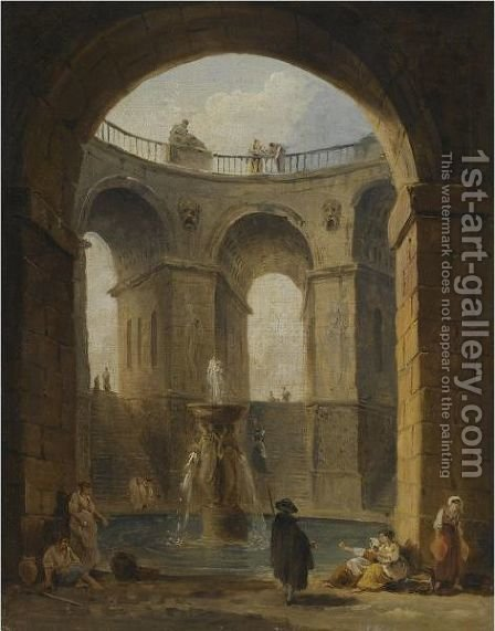 An Architectural Capriccio With Figures Gathered Around A Fountain by Hubert Robert - Reproduction Oil Painting