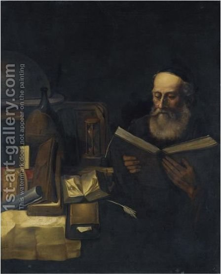 A Scholar In His Study Reading by (after) Willem Van Drielenburg - Reproduction Oil Painting