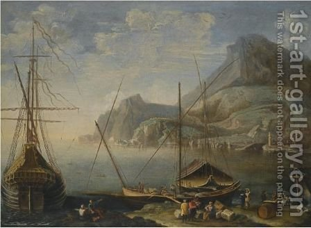 A Mediterranean Coastal Scene With Figures Unloading Cargo From Boats In The Foreground by Agostino Tassi - Reproduction Oil Painting