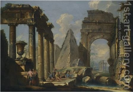A Landscape With Classical Ruins And Figures Resting In The Foreground by (after) Giovanni Paolo Panini - Reproduction Oil Painting