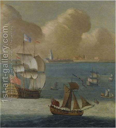A First Rate Flagship And Other Shipping Of The Royal Navy Off Portsmouth by (after) Isaac Sailmaker - Reproduction Oil Painting