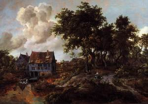 Famous paintings of Mills: A Watermill Beside A Woody Lane