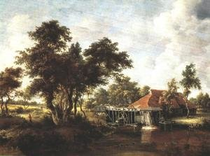 Famous paintings of Mills: Wooded Landscape with Water Mill 1662-1664