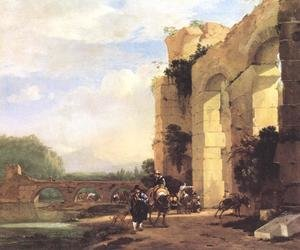 Famous paintings of Dogs: Italian Landscape With The Ruins Of A Roman Bridge And Aqueduct