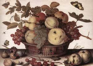 Famous paintings of Butterflies: Basket Of Fruits  1632