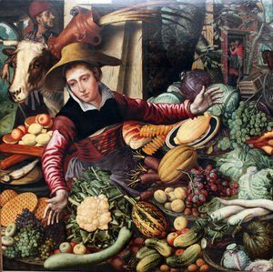Famous paintings of Vegetables: Market Woman With Vegetable Stall 1567