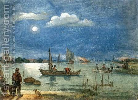 Fishermen By Moonlight 1620s by Hendrick Avercamp - Reproduction Oil Painting