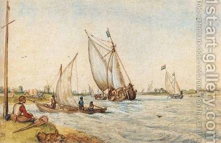 River Landscape by Hendrick Avercamp - Reproduction Oil Painting