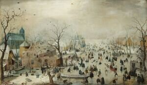 Famous paintings of Villages: Winter Landscape 1608