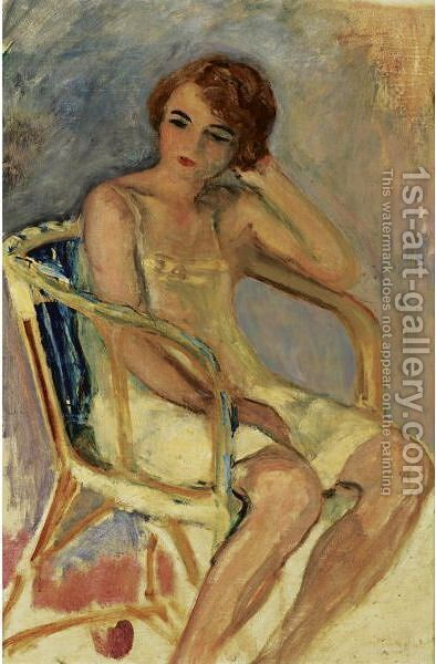 Jeune Femme Assise 2 by Henri Lebasque - Reproduction Oil Painting