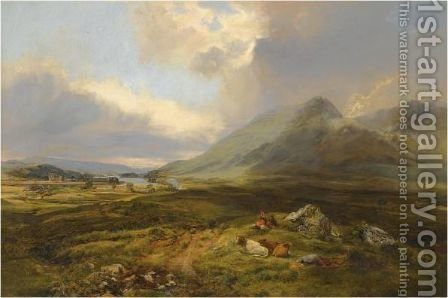 Figures And Cattle Resting Beside Loch Awe by Alexander Jnr. Fraser - Reproduction Oil Painting