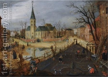 A Village Landscape With Figures Working The Land In The Foreground by (after) Sebastiaen Vrancx - Reproduction Oil Painting
