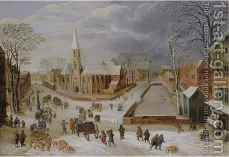 An Urban Winter Landscape With A Farrow Of Pigs In The Foreground by (after) Joos Or Josse De, The Younger Momper - Reproduction Oil Painting