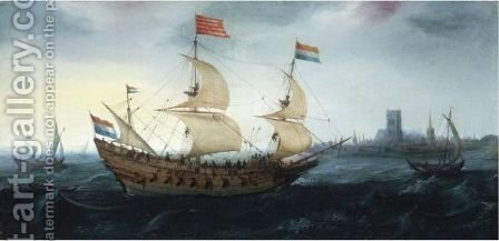 A Dutch Two-Master In A Stiff Breeze Before A Dutch Coastal Town, Possibly Den Briel by Hendrick Cornelisz. Vroom - Reproduction Oil Painting