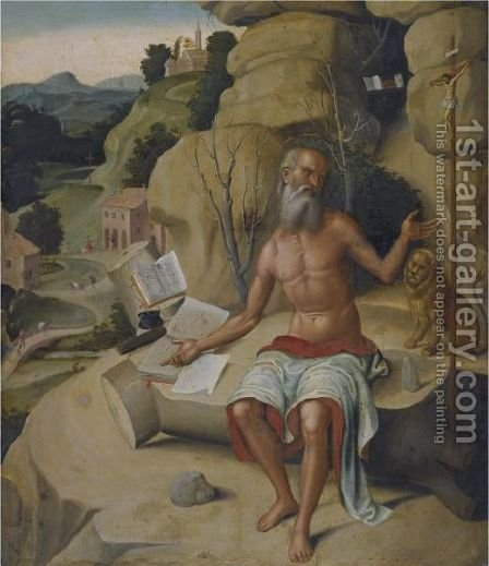 Saint Jerome, Seated On A Rock Before An Extensive Landscape by (after) Marco Palmezzano - Reproduction Oil Painting