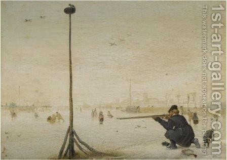 Winter Landscape With A Hunter Shooting Duck At The Edge Of A Frozen Waterway by Hendrick Avercamp - Reproduction Oil Painting