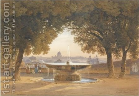 The Fountain Of Villa Medici, Rome, At Sunset by Hermann David Salomon Corrodi - Reproduction Oil Painting