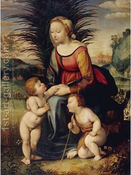 Madonna And Child With St. John The Baptist by (after) Raphael (Raffaello Sanzio of Urbino) - Reproduction Oil Painting