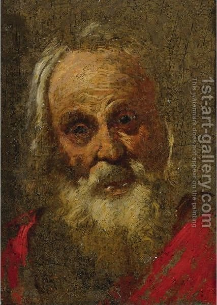 Head Of A Bearded Man by (after) Bernardo Strozzi - Reproduction Oil Painting