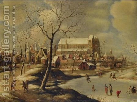 Winter Cityscape With Ice-Skaters And Golfers by (after) Jan Abrahamsz. Beerstraten - Reproduction Oil Painting