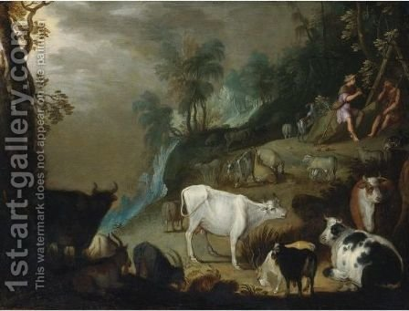 Argus And Mercury In A Landscape by (after) Gillis Claesz. De Hondecoeter - Reproduction Oil Painting
