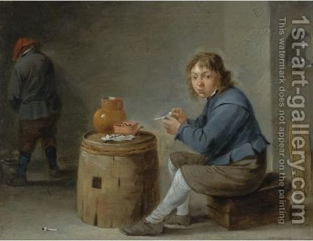 A Boy Smoking by (after)  David The Younger Teniers - Reproduction Oil Painting
