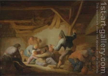 Peasant Brawl In A Tavern by Adriaen Jansz. Van Ostade - Reproduction Oil Painting