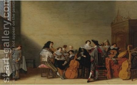 An Elegant Company At A Concert by (after) Anthonie Palamedesz. (Stevaerts, Stevens) - Reproduction Oil Painting
