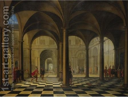 Interior Of A Cathedral by (after) Jacobus Saeys - Reproduction Oil Painting
