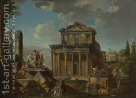Capriccio With The Temple Of The Divine Antoninus Pius And Faustina by Giovanni Paolo Panini - Reproduction Oil Painting