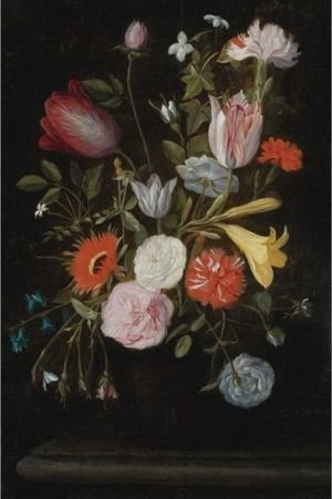 Still Life Of Flowers With Tulips, Lilies, And Carnations