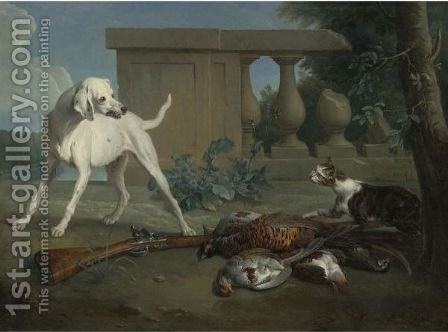 A Hound Protecting A Bag Of Game From A Cat by Alexandre-Francois Desportes - Reproduction Oil Painting