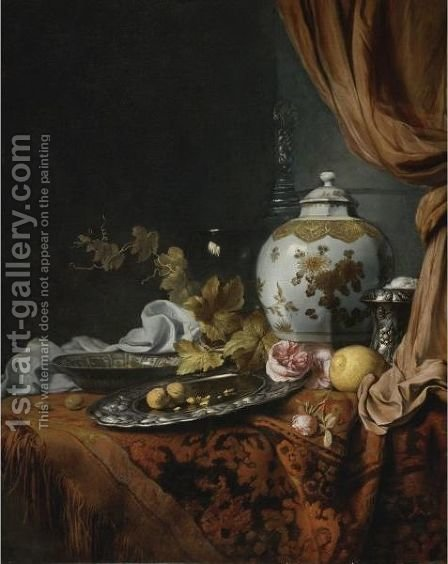 A Blue And White Faceted Vase, A Rose And Walnuts On A Pewter Plate, A Wan-Li Kraak Porcelain Bowl by (after) Joseph De Bray - Reproduction Oil Painting