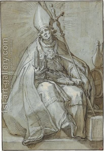 Saint Willibrord by Abraham Bloemaert - Reproduction Oil Painting