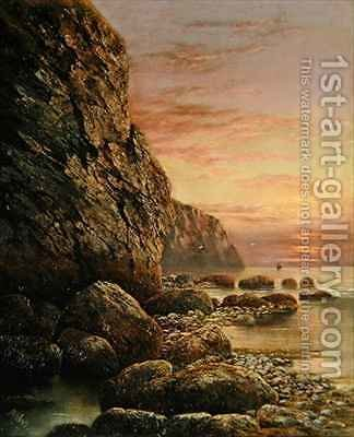 Seascape with Cliff at Sunset 2 by J. H. Blunt - Reproduction Oil Painting