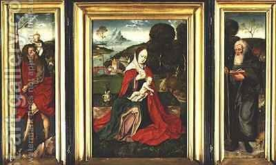Triptych, Madonna and Child in a Landscape with St. Christopher and St. Anthony the Great by Herri met de Bles - Reproduction Oil Painting