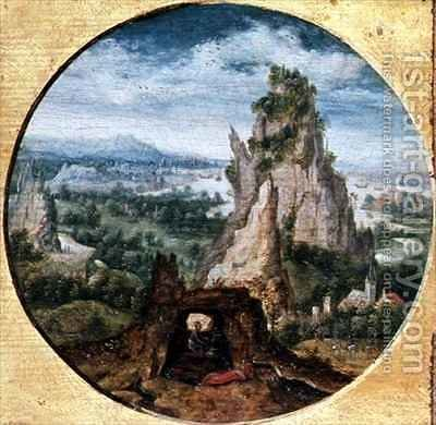 St. Jerome in Penitence in a Fantastic Landscape by Herri met de Bles - Reproduction Oil Painting