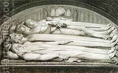 The King, Councellor, Warrior, Mother and Child in the Tomb by (after) William Blake - Reproduction Oil Painting
