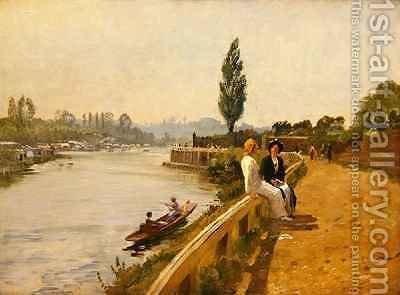 The Thames at Hampton Court by Arthur John Black - Reproduction Oil Painting