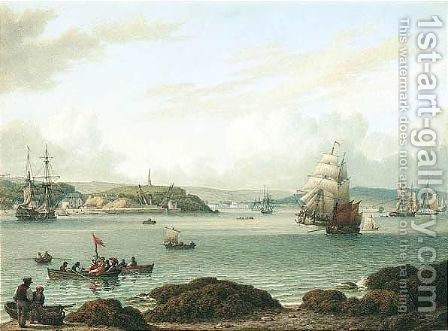 View At Plymouth, Devonshire by (after) John Ward Of Hull - Reproduction Oil Painting