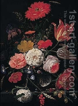 A Still Life Of Tulips, Roses, A Peony, An Iris, Several Varieties Of Poppy, Daisies, A Snowball, Convolvulus, Cow-parsley, Ears Of Corn In A Glass Vase On A Stone Ledge by Abraham Mignon - Reproduction Oil Painting