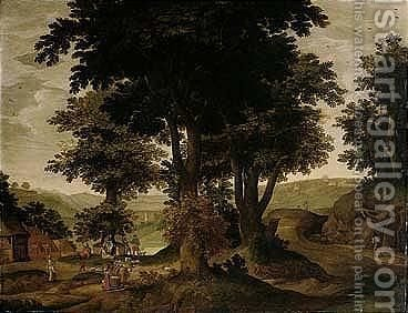 A Landscape With Peasants Resting Under Trees by Jacob Grimmer - Reproduction Oil Painting